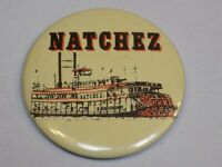 Natchez Riverboat Mississippi Travel Pin Vintage Old Metal Button Round Pinback