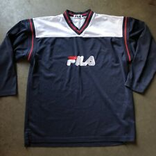 Men's Vintage 90's Fila Red White Navy Blue Mesh Long Sleeve Jersey Shirt Sz M