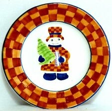 """BLOCK GEAR FATHER CHRISTMAS SNOW PEOPLE 8"""" SALAD PLATE - Snowman with Tree"""