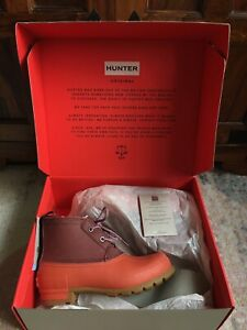 HUNTER Orange And Burgundy Original Pac Boots Chelsea 6UK