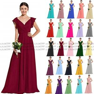 Long Chiffon Wedding Evening Formal Party Ball Gown Prom Bridesmaid Dresses 6-24