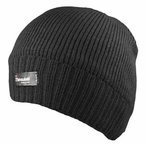Men's Black Waterproof Hat Large Thinsulate Lined Warm Winter Angling Fishing