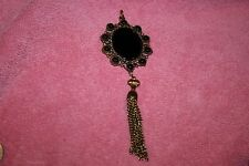 Vintage Gold Tone Pendant with Black Glass Center & Accents & Dangle Chains