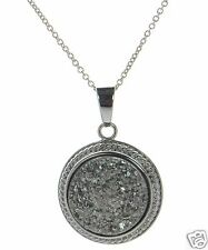 Solid 925 Sterling Silver Grey Round Druzy Pendant Necklace '