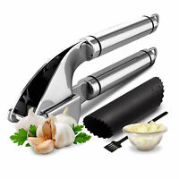 Garlic Press Stainless Steel Mincer Crusher with Garlic Rocker and Peeler