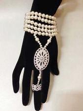 Bracelet Bague MultiRang Mini Perle de Culture Blanche Ronde Argent 925 Class