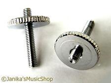 2 chrome height adjusting thumb wheels posts guitar bridge screws tune o matic