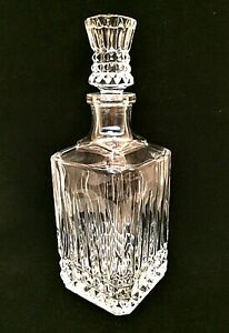 "Genuine Lead Crystal Decanter Cristal d'Arques France Bar Accessory 11"" Tall"