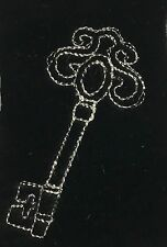EMBROIDERED Champagne on BLACK Silk Velvet Fabric - Skeleton Key