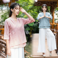 Chinese Style Han V Neck 3/4 Sleeves Cotton Linen Blouse Outfit Womens Autumn