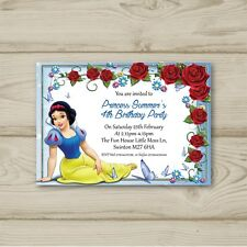 Disney Princess Snow White Red Blue Rose Birthday Party Invitation Personalised