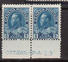 Canada #111 Mint Plate #13 Rare Pair