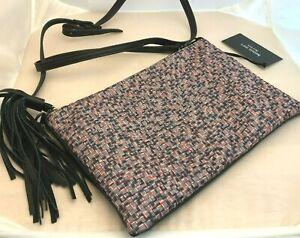 Bernie Mev Women's Clutch Handbag Endure Shoulder Strap Woven Red White Blue NEW