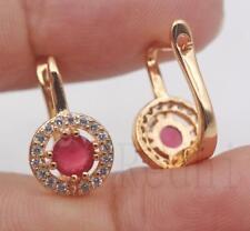 18K Gold Filled - Round Hollow Ruby Topaz Gemstone Wedding Girl Hoop Earrings