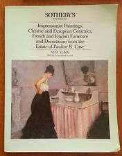 Sothebys Pauline K. Cave Paintings Chinese Ceramic French English Furniture 1984