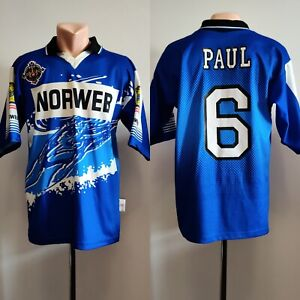 Shirt Rugby Retro Jersey Wigan Warriors Away 1997 Norweb Blue Mens Henry Paul #6