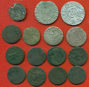 Lot of 15 Poland Lithuania Hungary Riga Livonia 1622-1665s 1442