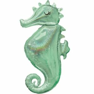"""Mermaid Wishes SEAHORSE Foil Balloon Girls Birthday Party Decoration ~ 38"""" Tall"""