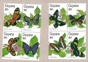 1991 GUYANA BUTTERFLY 2X 4 STAMP BLOCKS MNH