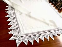 VINTAGE HAND CROCHET  White LINEN Table Cloth 44X46 INCHES
