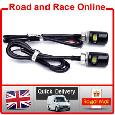 Small Black 12v LED Number Plate Lights Round Bolt Style Universal Fitting