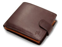 RFID Mens Real Leather Wallet With ID & Coin Pocket Gift Boxed #1075 Brown Tan