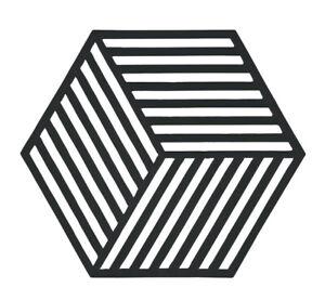 Zone Black Hexagon Trivet Silicone Pan Dish Pot Holder Heat Resistant Mat