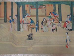"""Very Long Old Chinese Hand Painting Scroll """"HanGongChunXiao"""" Marked """"QiuYing"""""""