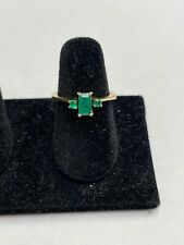 18k Solid Yellow Gold Emerald Wizard of Oz ring, Size 5