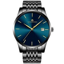 New Mens Fashion Stainless Steel Waterproof Date Analog Quartz Sport Wrist Watch