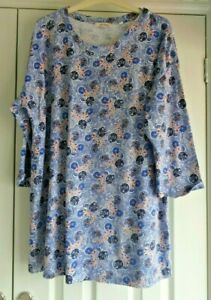 Superb Fat Face Cotton Blend Tunic Style 3/4 Sleeve Jersey Feel Top 16 Loose Fit