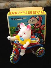 Rabbit bunny on bike Vintage Made In Japan tin Mechanical wind-up toy with Box