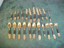 22pc Mid-Century Siam/Thailand Brass Flatware w/Wooden Handles-Spoons & Knives