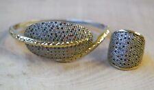 Turkish Handmade Jewelry Sterling Silver 925 Ruby Mix Ring Bracelet Set 7 8 9