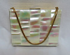 1950's Double Compartment Schildkraut Mother of Pearl Goldtone Compact/Purse