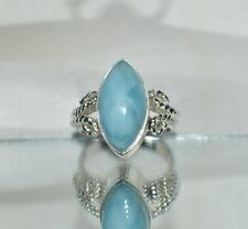 GLAMOROUS  6.50ct.  NATURAL SKY BLUE LARIMAR .925 STERLING  SILVER RING COCKTAIL
