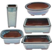 Chinese  Porcelain Bonsai Pot Dark Blue Glazed Flower Planted Home Garden Decor