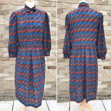 Vintage Leslie Fay Mod Shirt Dress 16 Geometric Stripes 70s Retro Modest Mad Men