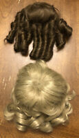Vtg 2 Doll Wigs French Curl & Wave For Compo -Bisque Dolls