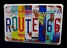 Route 66 STATES Plates -*US MADE* Embossed Sign - Man Cave Garage Bar Wall Decor