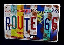 Route 66 STATES Plates -*US MADE* Embossed Metal Tin Sign - Man Cave Garage Bar
