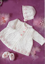 """Knitting PATTERN- Baby girl matinee coat & Bonnet in DK- fits Prem-12"""" up to 20"""""""