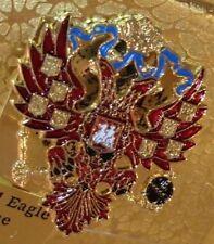 Russian Imperial Double Headed Eagle Enamel Pin Badge~Romanov Russia Lapel Star