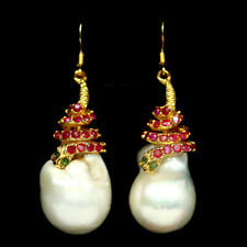 NATURAL CREAMY WHITE BAROQUE PEARL RUBY & EMERALD EARRINGS 925 SILVER STERLING