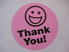 500 BIG THANK YOU SMILEY LABEL STICKERS Pink