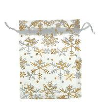 25pcs 12x16cm Gold Snowflake White Premium Organza Wedding Favour/XMAS Gift Bags