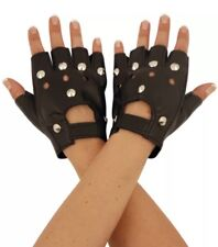 FINGERLESS STUDDED BIKER PUNK GLOVES ADULT UNISEX LEATHER PU QUALITY