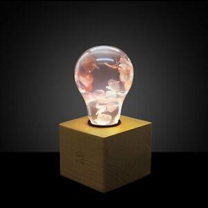 EP LIGHT LED Table Lamp, Pink Hydrangea desk lamp, Handmade gift, Home Decor