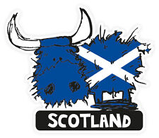 Scottish Car Bumper Sticker Decal Vinyl Scotland Saltire Highland Coo Cow