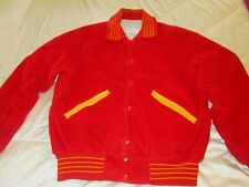 DeLong Varsity Lined Jacket Red Man's Size Large Made In USA